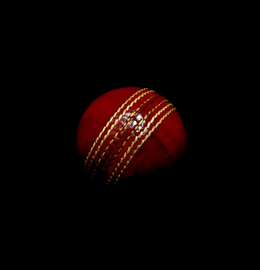 cricket ball with black background